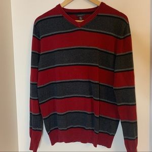 Sweaters - Striped V-Neck Grampa Sweater